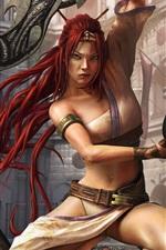 Heavenly Sword, cabelo vermelho da menina, guerreiro, Sony jogo PS4