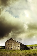 Preview iPhone wallpaper House, slope, grass, sheep, clouds