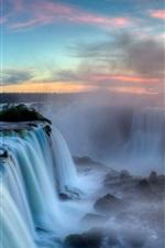 Preview iPhone wallpaper Iguazu Falls, Argentina-Brazil Border, clouds, sunset, mist