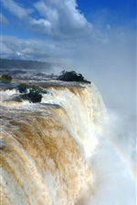 Preview iPhone wallpaper Iguazu Falls, great nature waterfalls, water, rainbow, mist, clouds, Brazil