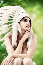 Indian style hat, feathers, girl, summer