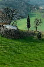 Preview iPhone wallpaper Italy, Campania, mountains, field, trees, grass, house