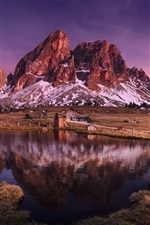 Preview iPhone wallpaper Italy, Dolomites, mountain, lake, grass, houses