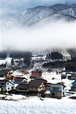 Preview iPhone wallpaper Japan travel place, Shirakawago, beautiful winter, snow, houses, village