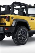 Preview iPhone wallpaper Jeep Wrangler Rubicon Rocks Star, yellow car rear view