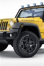 iPhone fondos de pantalla Jeep Wrangler Rubicon de las rocas de la estrella, recogida amarilla