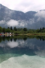 Lake Bohinj, Slovenia, trees, mountains, clouds