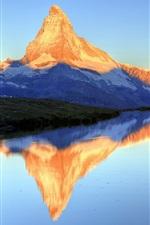 Preview iPhone wallpaper Lake Stella, water reflection, Matterhorn Peak, Zermatt, Valais, Switzerland