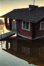 Preview iPhone wallpaper Lake, wooden house, trees, morning, sunrise