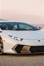 Preview iPhone wallpaper Lamborghini Huracan Novara white supercar front view