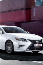 Lexus ES 200 white car at port, high speed