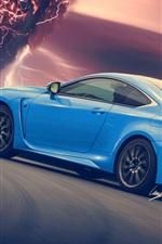 Lexus RC-F carro azul retrovisor