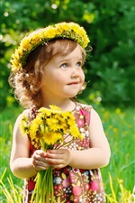 Little cute girl holding flowers, wreath, summer, bokeh