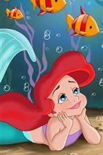 미리보기 iPhone 배경 화면 인어 공주와 노란 물고기, 디즈니 애니메이션 영화