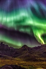 Preview iPhone wallpaper Lofoten Islands, Norway, beautiful night, northern lights, stars, mountains
