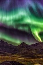 Preview iPhone wallpaper Lofoten Islands, Norway, beautiful night, northern lights, stars, mountains