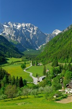 Preview iPhone wallpaper Logarska Dolina Valley, Slovenia, mountains, trees, houses, road