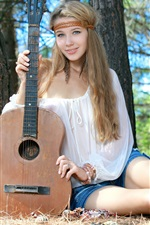 Preview iPhone wallpaper Long hair girl in forest, guitar, music