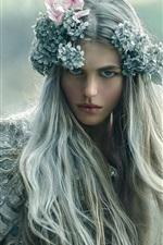 Long hair girl, wreath, makeup