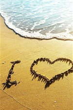Preview iPhone wallpaper Love heart beach, waves, I Love, sunshine