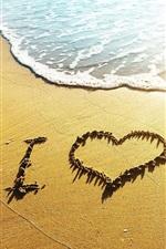 미리보기 iPhone 배경 화면 심장 해변, 파도, 나는 사랑, 햇빛을 사랑