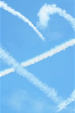 Love heart in blue sky, Cupid arrow, airplane, smoke