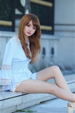 Preview iPhone wallpaper Lovely and pure Asian girl, sit at street side