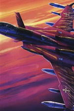 Preview iPhone wallpaper Macross, red fighter in sky