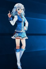 Preview iPhone wallpaper Madobe Touko, blue dress girl, Windows 10 system logo