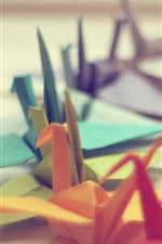 Preview iPhone wallpaper Many colorful paper cranes, origami art