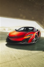 Preview iPhone wallpaper McLaren 675LT orange supercar front view