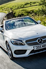 Preview iPhone wallpaper Mercedes-Benz AMG C-Class Cabriolet A205 white car