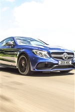 Preview iPhone wallpaper Mercedes-Benz AMG C63 blue coupe speed