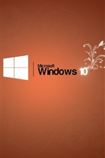 Microsoft Windows 10 logo, orange background