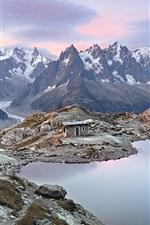 Preview iPhone wallpaper Mont Blanc Massif, sunrise, lake, hut, Graian Alps
