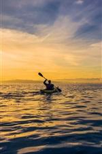 Morning, dawn, sunrise, clouds, sea, boat