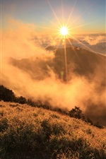 Preview iPhone wallpaper Morning sunrise landscape, clouds, mountain, grass