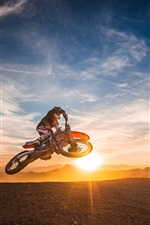 Preview iPhone wallpaper Motorcycle race, sports, jump, sunset
