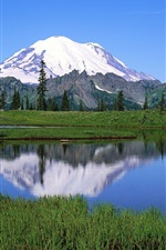 Mount Rainier National Park, lago, árvores, montanhas, Washington, EUA