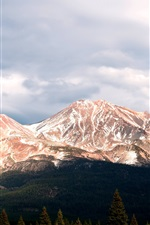 Preview iPhone wallpaper Mount Shasta, Stratovolcano, clouds, trees, California, USA