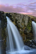 Preview iPhone wallpaper Mountain and waterfalls, dusk, clouds, Iceland