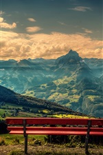 Preview iPhone wallpaper Mountains, clouds, river, trees, villages, red bench