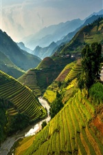 Preview iPhone wallpaper Mu Cang Chai terraced, Vietnam, beautiful landscape, mountains, rice fields