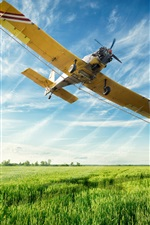 Preview iPhone wallpaper Multi purpose light aircraft flight in sky, fields