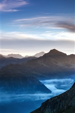 Preview iPhone wallpaper Nature landscape, mountains, clouds, mist, dawn
