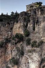 Preview iPhone wallpaper New Bridge, Ronda, Malaga, Spain, cliff, houses, dusk