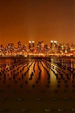 미리보기 iPhone 배경 화면 뉴욕시, 미국, 부두, 허드슨 강, 밤, 고층 빌딩, 조명