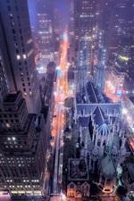 iPhone fondos de pantalla Nueva York la noche la ciudad, calle, edificios, rascacielos, luces, EE.UU.