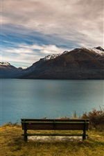 Preview iPhone wallpaper New Zealand, Queenstown, mountains, lake, bench, dusk