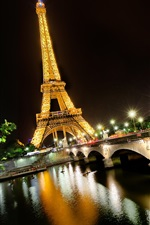 Preview iPhone wallpaper Night view Eiffel Tower, Paris, France, Seine river, lights, bridge